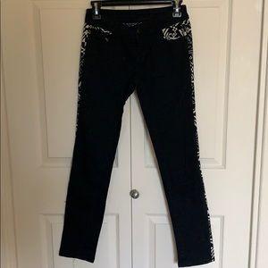 Black Aztec pattern skinny jeans